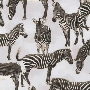 Timeless Treasures - Wild - Zebra's  - katoen