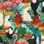 Timeless Treasures Tropische vogels - Katoen