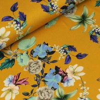 Megan Blue Fabrics - Floral Garden oker - Tricot