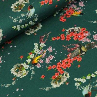 Megan Blue Fabrics Asian Birds - Tricot