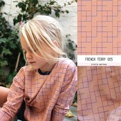 Squares Coral Pink French Terry