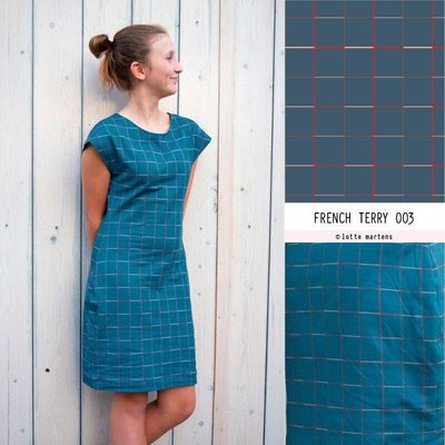 Squares Indian Teal - French Terry