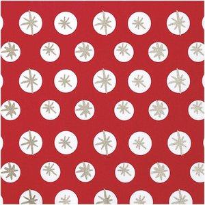 Rico Design - Sneeuwvlokken - Rood - Katoen