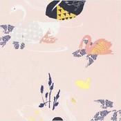 Rico Design - Roze zwanen - Gelamineerde katoen