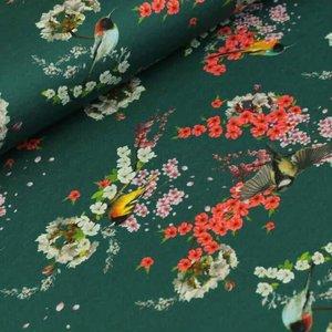 Megan Blue Fabrics - Asian Birds - Tricot