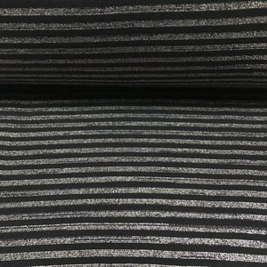 Albstoffe - Boordstof - Glitter stripes zwart & goud