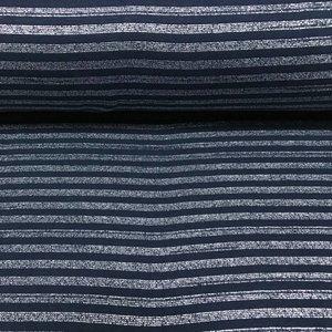 Albstoffe - Boordstof - Glitter stripes blauw & zilver