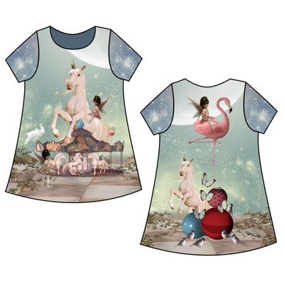 Stenzo - Unicorn & Flamingo - Tricotpaneel