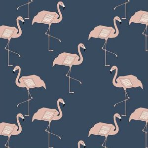 Elvelyckan - Flamingo - Dark Blue - biotricot