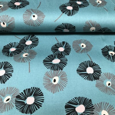 Flowers Petrol - stretchkatoen