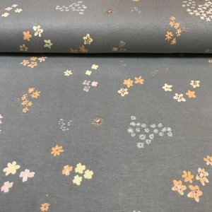 Rico Design - Shiny Flowers Grey - Tricot