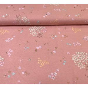 Rico Design - Shiny Flowers Pink - Tricot