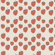 Elvelyckan - Strawberries wit - biotricot