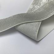 Elastische tailleband - glitter zilver (4 cm breed)