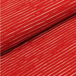 Megan Blue Fabrics - Single Stripes - Dark Rood/Wit
