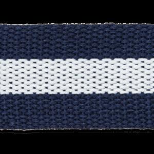 Tassenband - Navy-Witte streep 40 mm