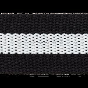 Tassenband - zwart-witte streep - 40 mm