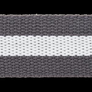 Tassenband Antraciet-Witte streep