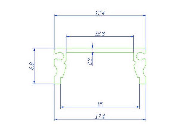 LED aluminium profile 2 meter, incl. mist cover, 2m x 17mm x 7mm