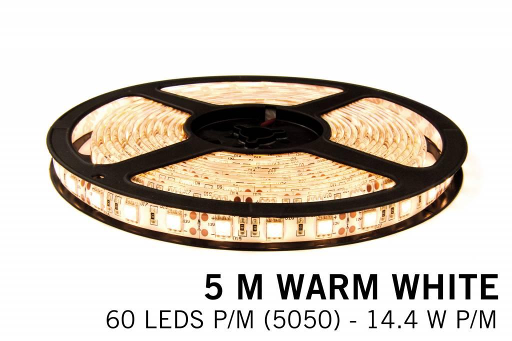 Warm White LED strip 60 leds p.m. - 5M - type 5050 - 12V - 14,4W/p.m