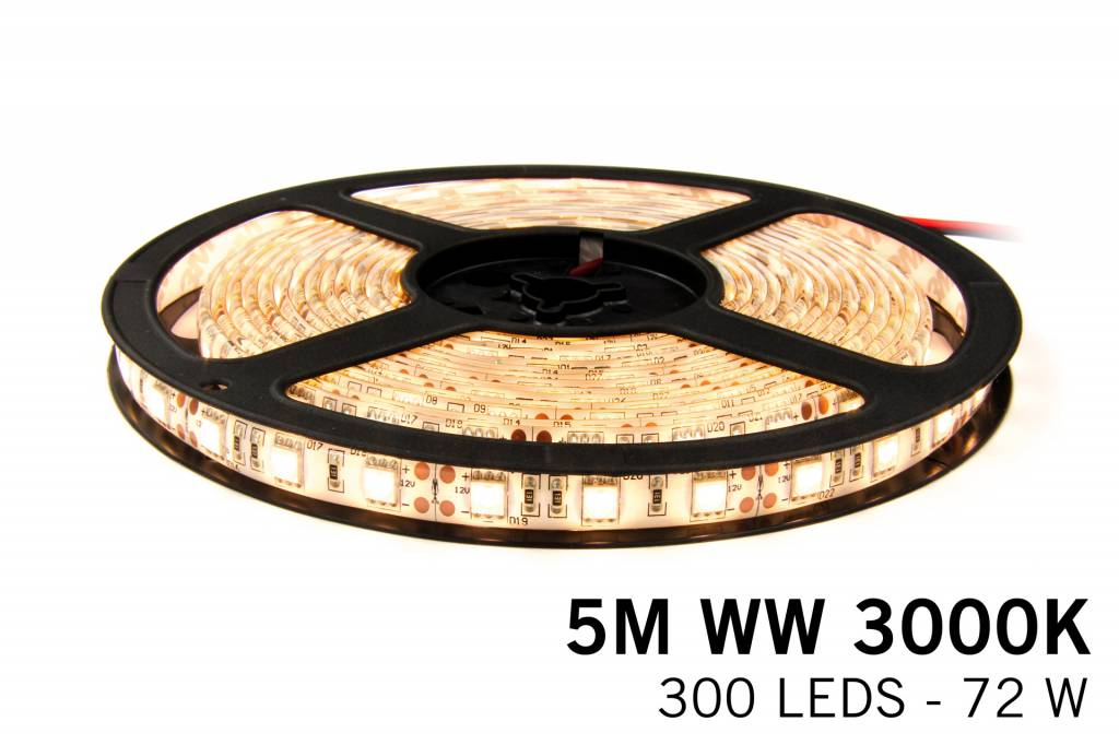Dimmable LED strip set Warm White 5 m. 300 leds 72W RF remote