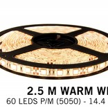 Warm White LED strip 60 leds p.m. - 2,5M - type 5050 - 12V - 14,4W p.m