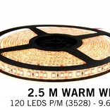 Warm Wit LED strip 120 leds p.m. - 2,5 m. - type 3528 - 12V - 9,6W p.m.