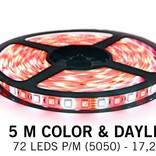 RGBW Color & cool white LED strip 72 p.m. - 5M type - 5050 - 12V - 17,2W pm