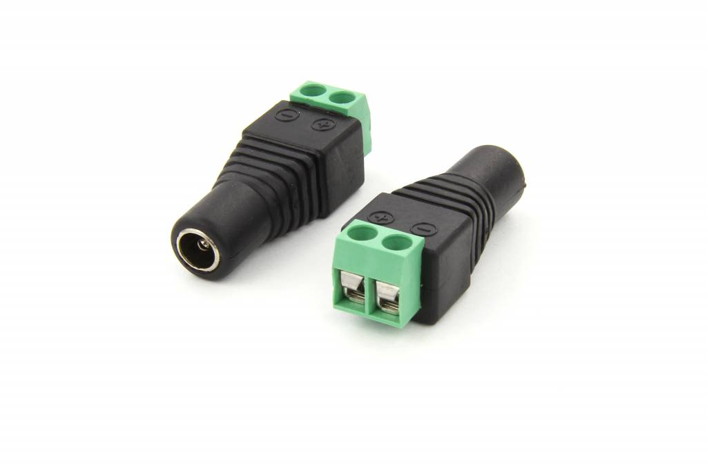 DC jack female 5,5 mm x 2.5 mm to wire screw connector