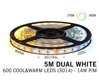 Dual White LED strip 600 LEDs Variable color temperature 72W 12V