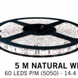 Neutral white LED strip 60 leds pm - 5M - type 5050 - 12V - 14,4W/pm