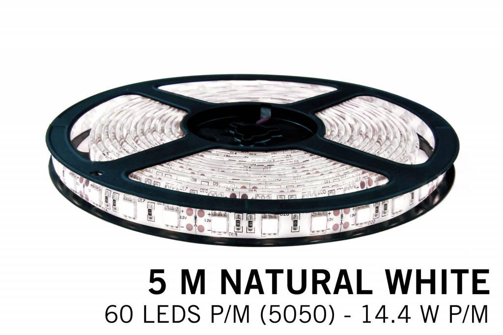 Neutral white LED strip 60 leds pm - 5M - type 5050 - 12V - 14,4W/pm