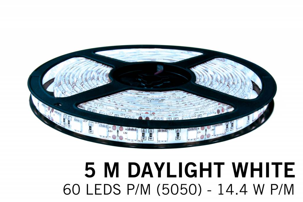 Cool white LED strip 60 leds p.m. - 5M - type 5050 - 12V - 14,4W/p.m