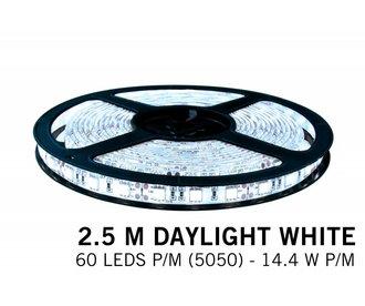 Cool white LED strip 60 leds p.m. - 2,5M - type 5050 - 12V - 14,4W/p.m