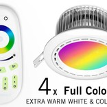 Four 12 Watt LED RGBW Downlights, Full Color RGB and 2700K Warm White