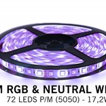 RGBW LED strip 360 LED's, neutral white + color (Add-on with controller and adapter)
