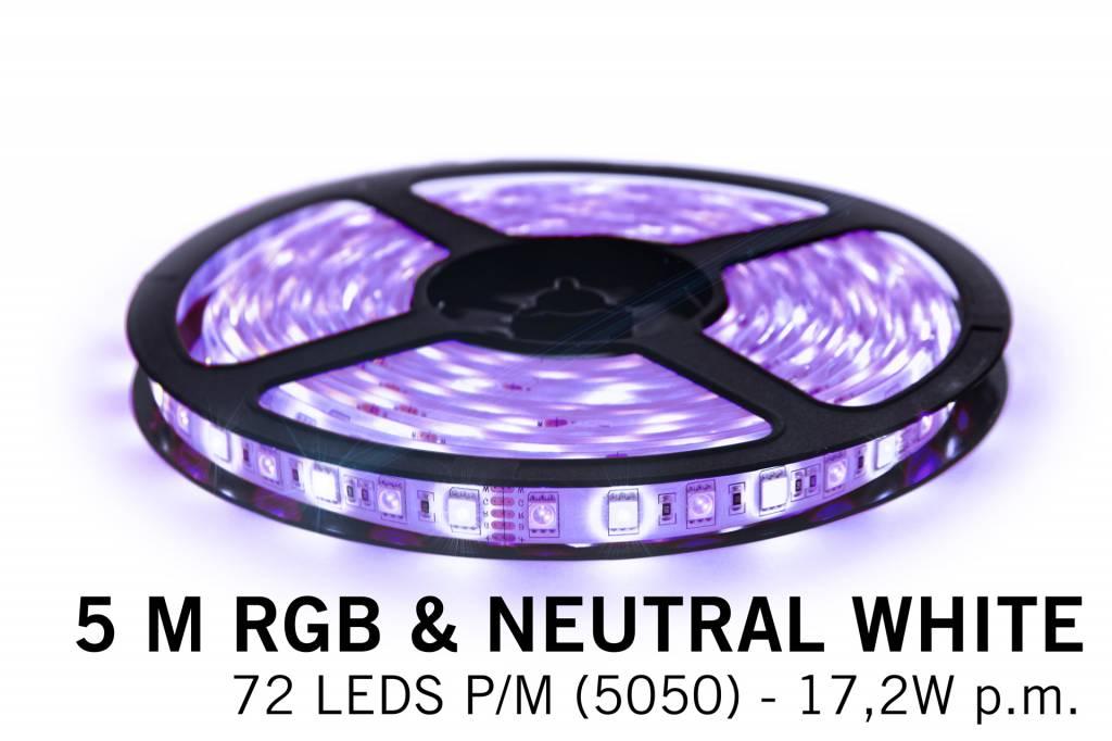 RGBW LED strip, color + neutral white - 360 LED's 86W 12V 5 meter