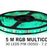 RGB LED strip 5 meter, 30 leds p.m. type 5050 12V (IP65)