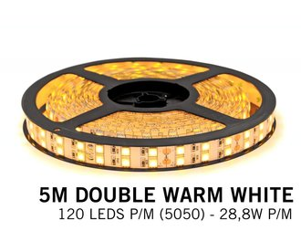 Extra Warm White Ledstrip 2400K, double row 5050, 28.8W P/M 12V