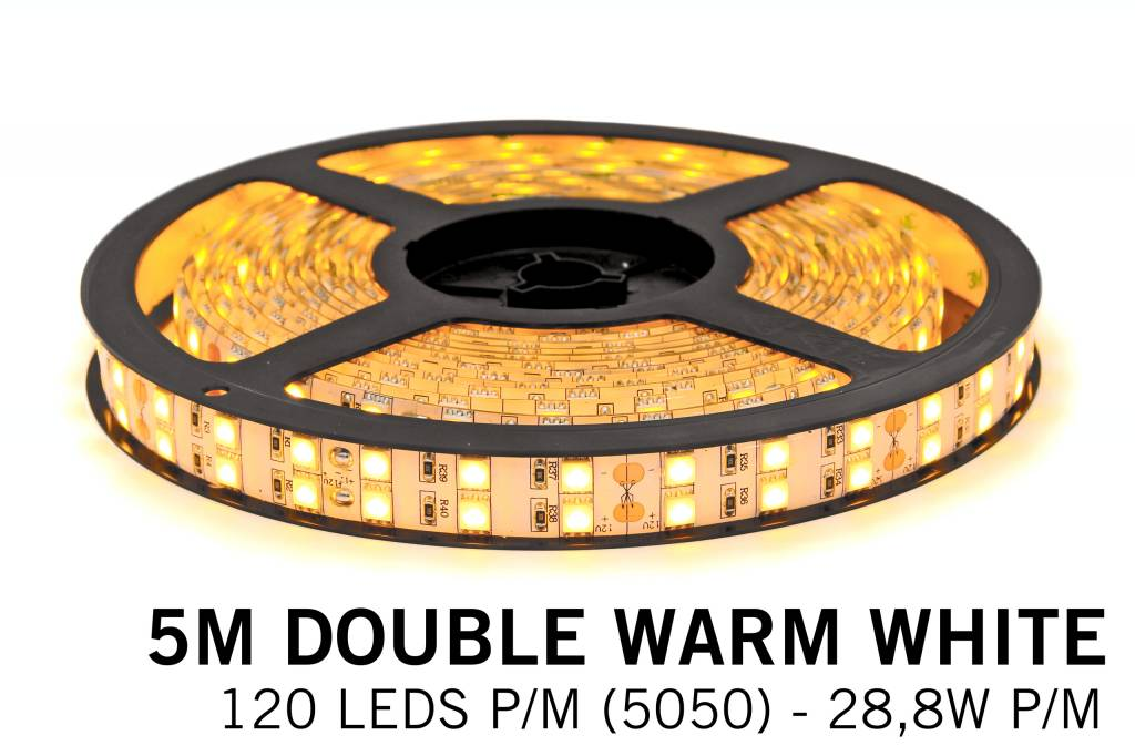 Warm White Ledstrip 2400K, double row 5050, 28.8W P/M 12V