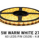 Warm White LED strip (2700K) 60 LED's p.m. type 3528 - 5M - 12V - 4,8W p.m.