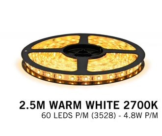 Warm White LED strip (2700K) 60 LED's p.m. type 3528 - 2,5M - 12V - 4,8W p.m.