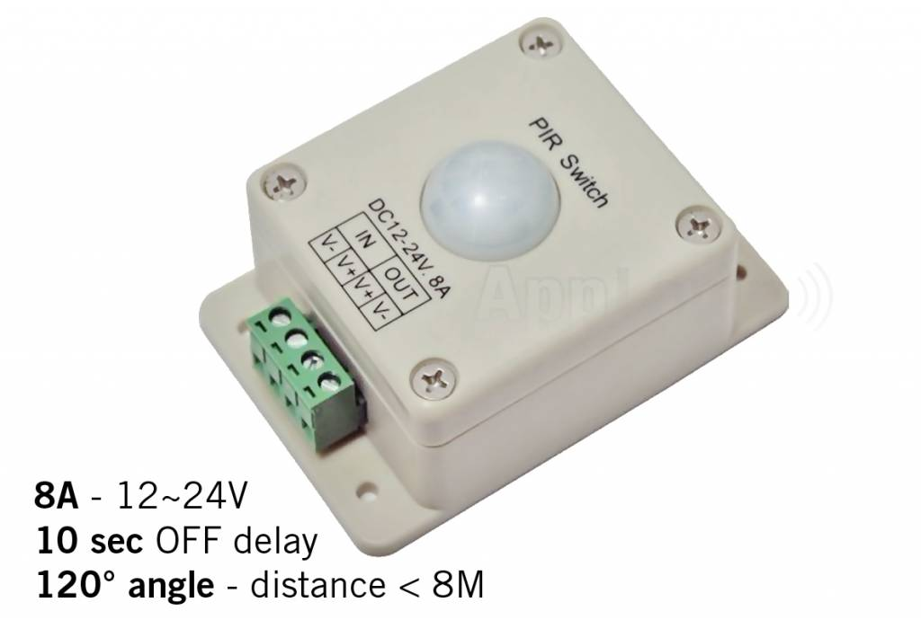 PIR motion sensor switch, 12-24V / 8A, 120° angle, 10 sec.