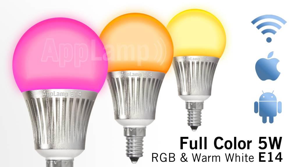 AppLamp Wi-Fi / RF wireless color RGBW LED bulb, dimmable, small E14 socket, 5 Watt