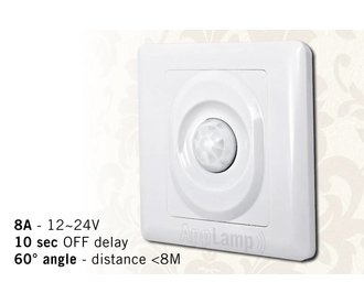 Wall mounted PIR movement sensor, 12-24V / 8A, 60° angle, 10 sec delay.