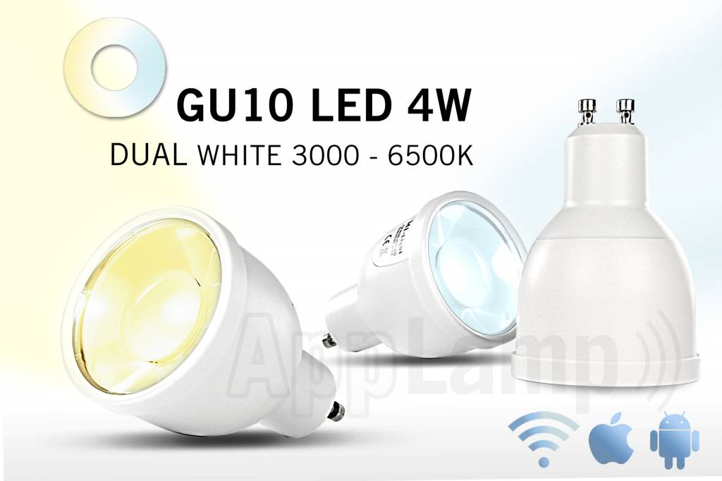 GU10 LED spotlight, variabel color temperature, remote dimming, 4W