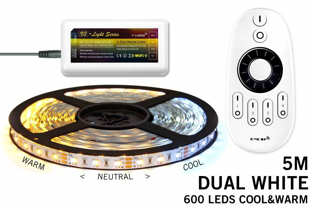 Dual White LED strip set 600 LEDs Variable color temperature 72W 12V with remote