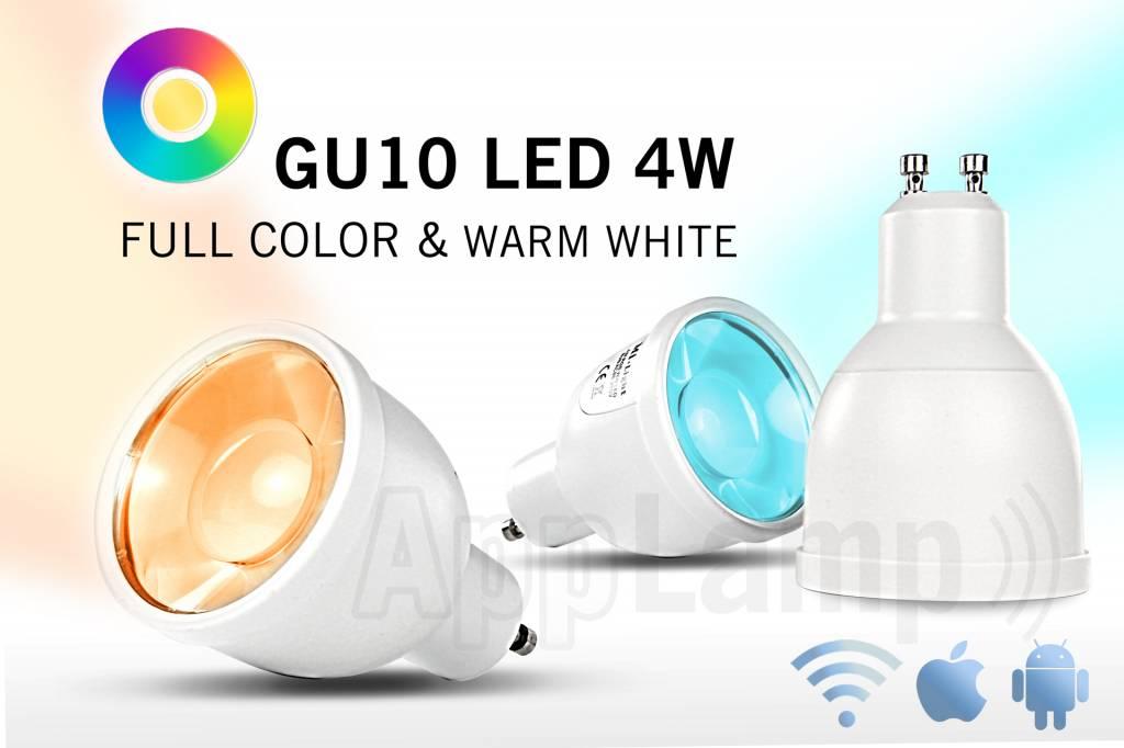 Super Saver 4-PACK 4 Watt GU10 Wi-Fi LED spotlights + Wifi Box + Remote