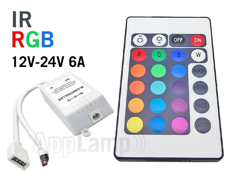 RGB LED-strip Controller with IR 24 KEY remote control, 12-24V 6A