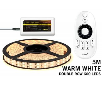 LED strip kit Warm White double row, 600 LEDs type 5050, 12V 5M with RF remote control